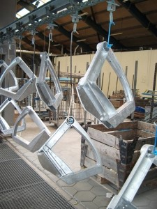 Industrial powder coating process